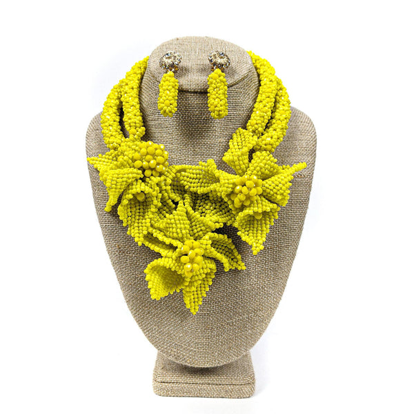 Yellow Petal Flower Beaded Neckpiece Set