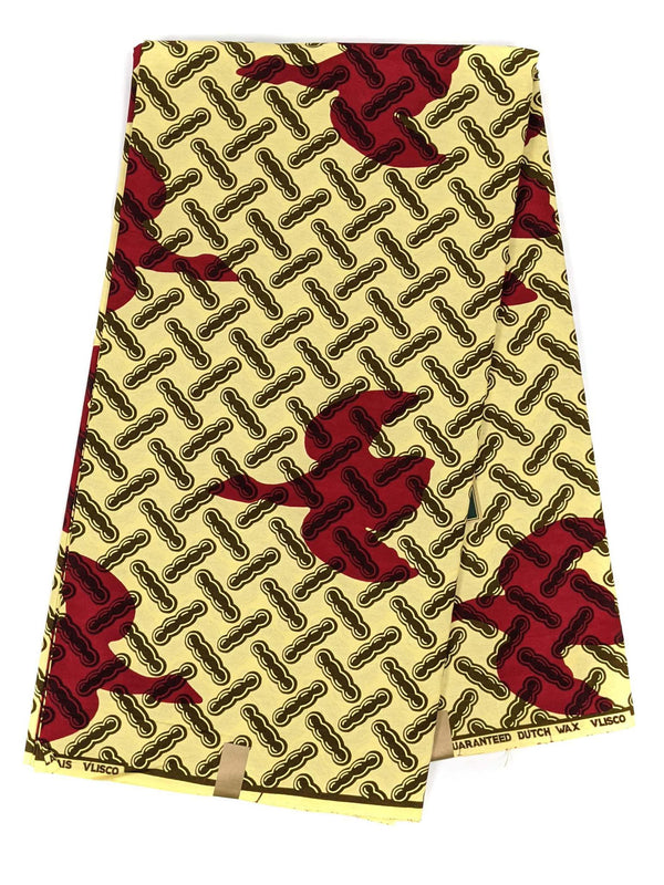 Sand and Red Ankara Wax Print