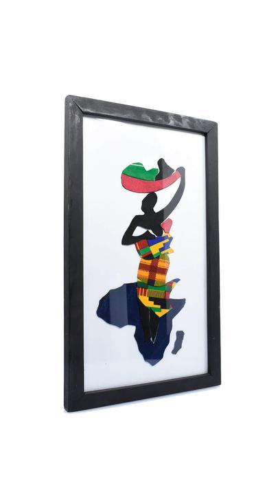 "Framed African Folk Art ""Mother Backing Infant"" - AFRIKAN ATTIRE - #african_clothing -"