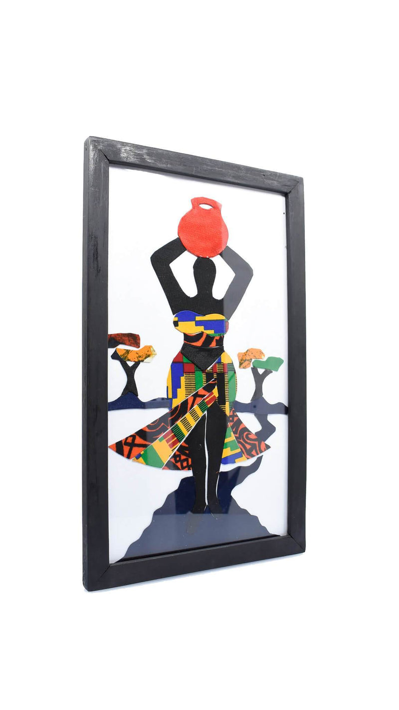 "Framed African Folk Art ""Village Women Fetching Water"" - AFRIKAN ATTIRE -"
