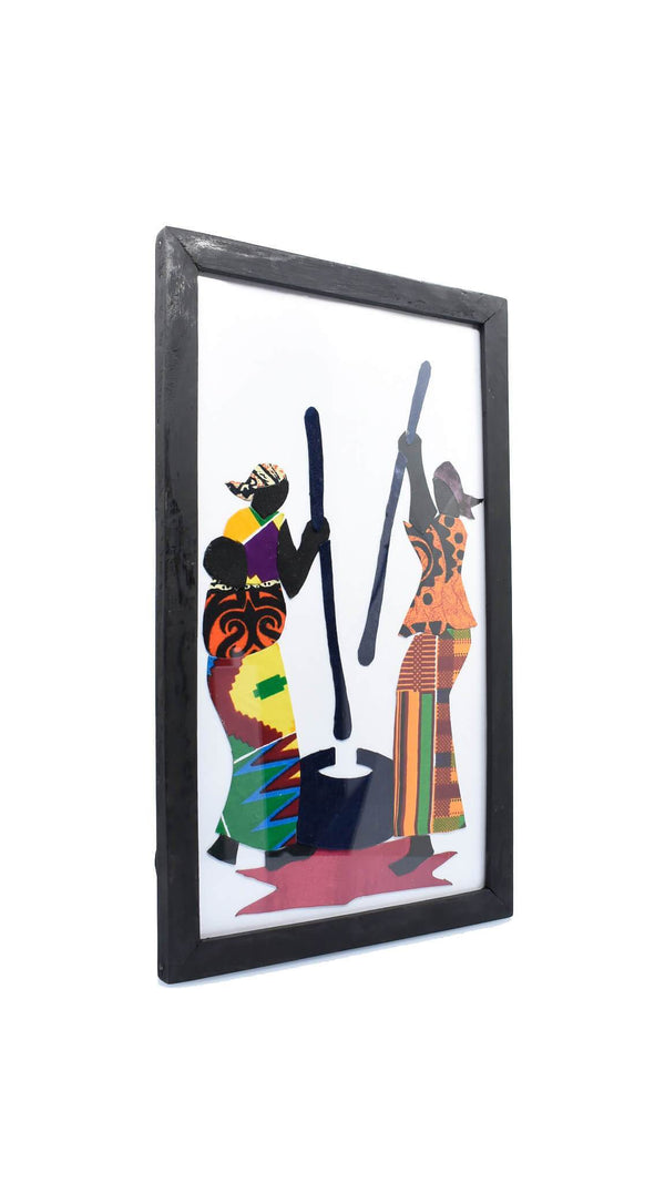"Framed African Folk Art ""Village Women Pounding Fufu"" - AFRIKAN ATTIRE - #african_clothing -"