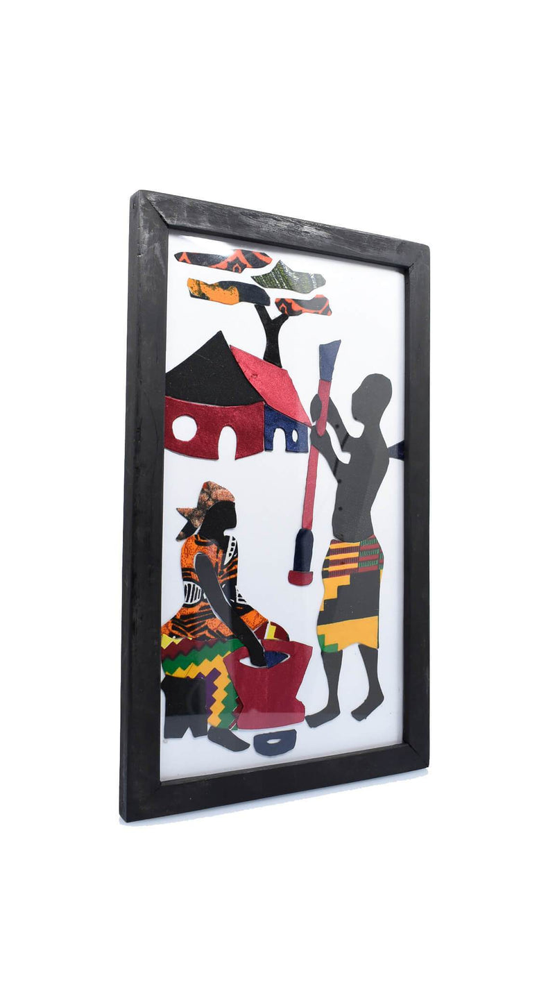 "Framed African Folk Art ""Woman Washing Man Digging"" - AFRIKAN ATTIRE -"
