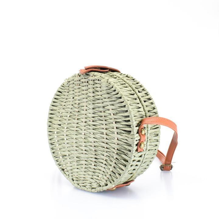 Full Moon Woven Straw Crossbody Bag - AFRIKAN ATTIRE -