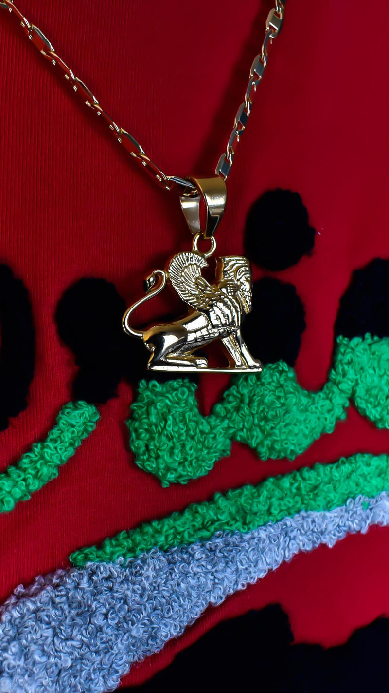 Gold Egyptian Sphinx Necklace - AFRIKAN ATTIRE -