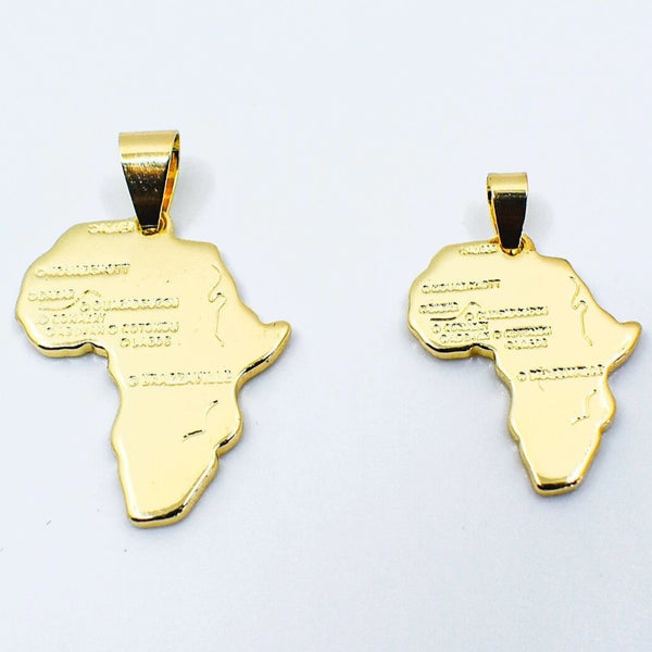 Gold Map of Africa Necklace - AFRIKAN ATTIRE - #african_clothing -