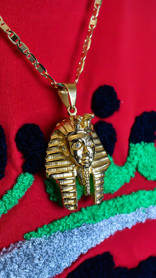 Gold Tutankhamun Pharaoh Necklace - AFRIKAN ATTIRE - #african_clothing - JEWELRY