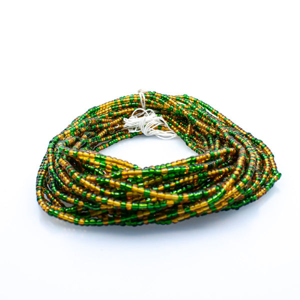 Green & Gold African Waist Beads - AFRIKAN ATTIRE - african_clothing - - african_attireAFRIKAN ATTIRE - african_fashion