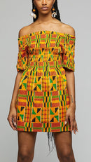 $$Kente Short Dress - AFRIKAN ATTIRE - african_clothing - Apparel - african_attireAFRIKAN ATTIRE - african_fashion