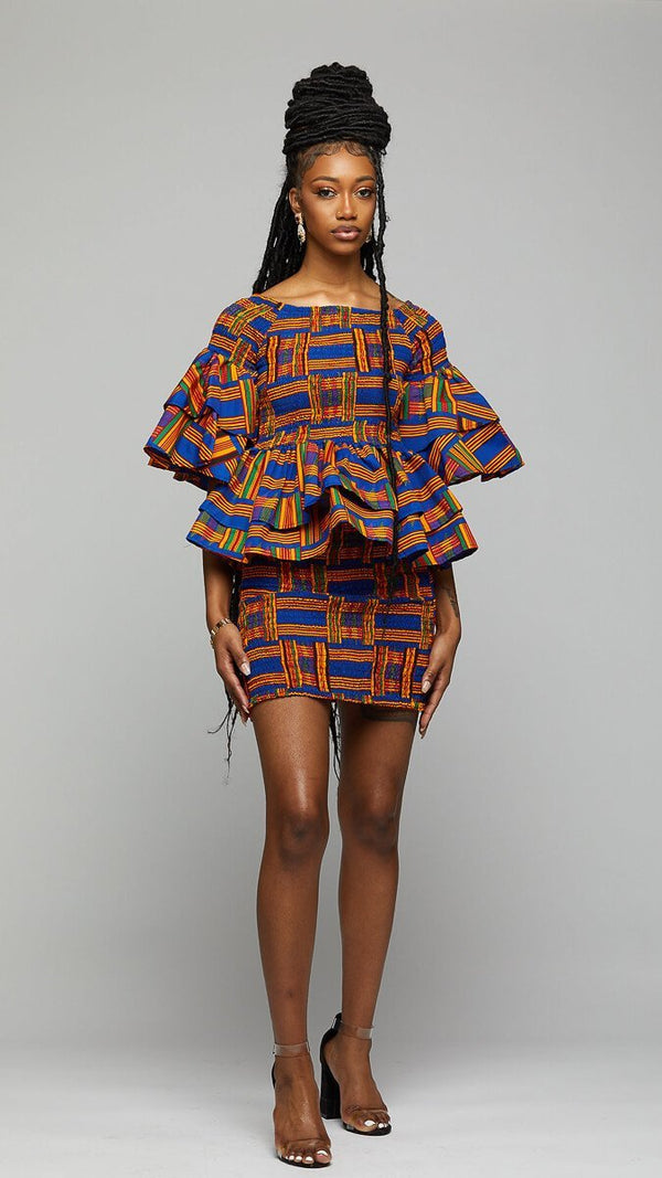 $$Kente Smoked Suit Skirt & Blouse - AFRIKAN ATTIRE - african_clothing - Apparel - african_attireAFRIKAN ATTIRE - african_fashion