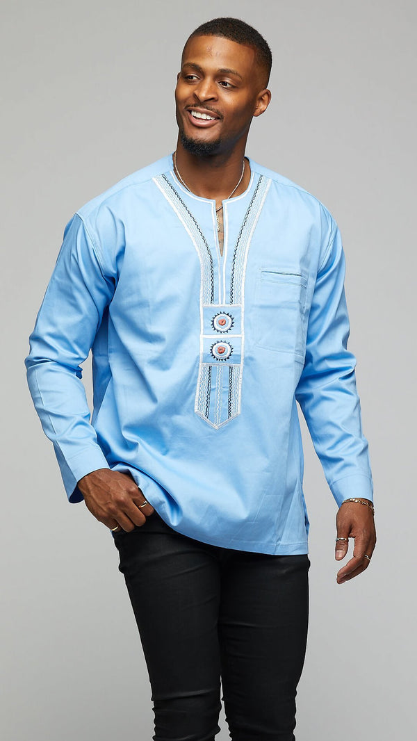 $$Modern Long-sleeve Dashiki with Tribal Embroidery - AFRIKAN ATTIRE - african_clothing - Apparel - african_attireAFRIKAN ATTIRE - african_fashion