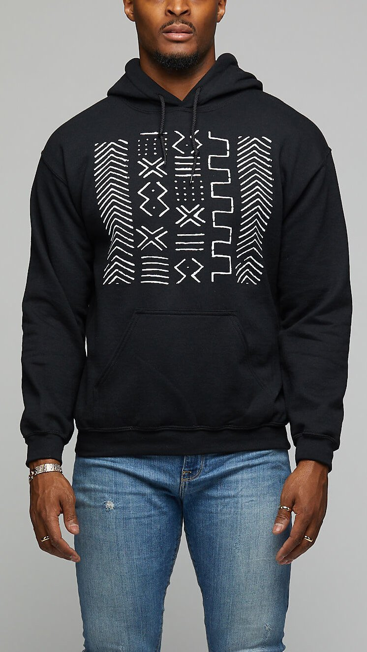 Mud Cloth Print Hoodie - AFRIKAN ATTIRE - #african_clothing - TOP