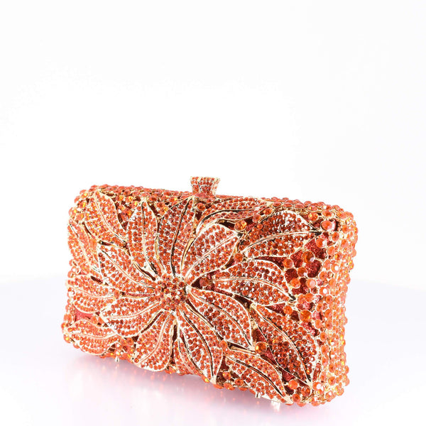 Orange Floral Clutch Purse - AFRIKAN ATTIRE - #african_clothing -