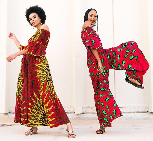 Peacock Off Shoulder Jumpsuit - AFRIKAN ATTIRE - #african_clothing -