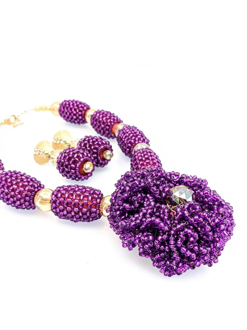 Purple And Gold Beaded Necklace - AFRIKAN ATTIRE - african_clothing - - african_attireAFRIKAN ATTIRE - african_fashion