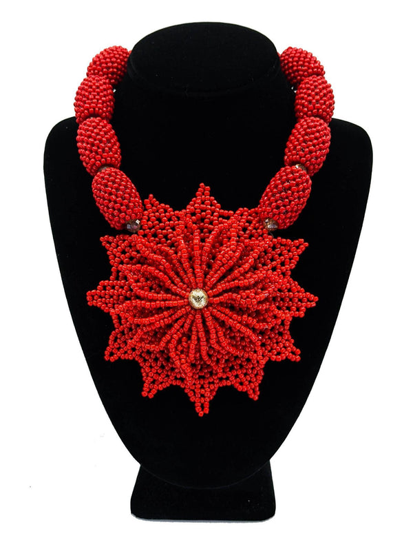 Red And Gold Leaf Beaded Jewelry - AFRIKAN ATTIRE - african_clothing - - african_attireAFRIKAN ATTIRE - african_fashion
