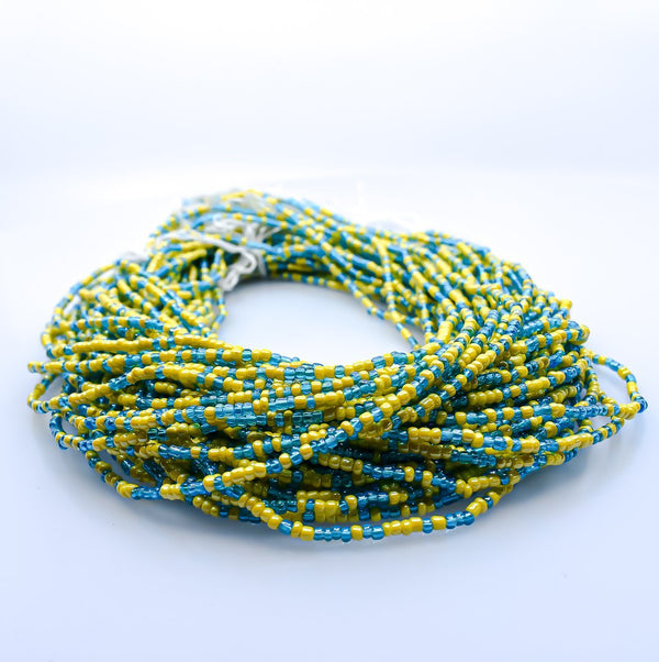 Sea von Green & Yellow African Waist Beads - AFRIKAN ATTIRE - african_clothing - - african_attireAFRIKAN ATTIRE - african_fashion