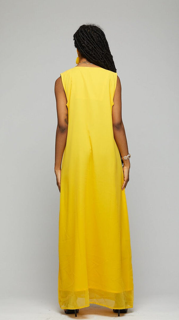 $$Silk Yellow & Gold Long Dress - AFRIKAN ATTIRE - african_clothing - Apparel - african_attireAFRIKAN ATTIRE - african_fashion