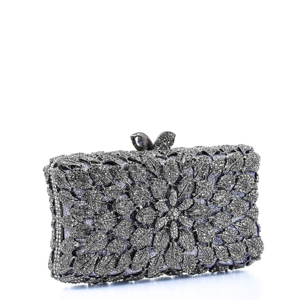 Silver and Lilac Floral Clutch Purse - AFRIKAN ATTIRE - #african_clothing -