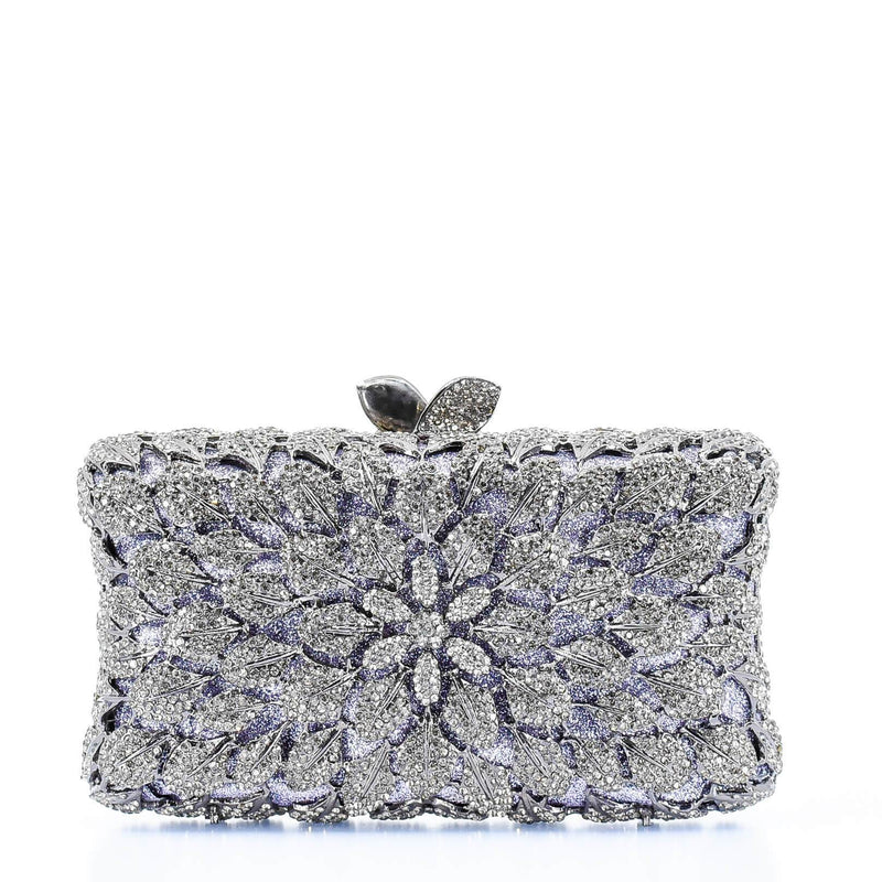 Silver and Lilac Floral Clutch Purse - AFRIKAN ATTIRE -