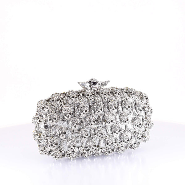 Silver Crystal and Bone Clutch Purse - AFRIKAN ATTIRE - #african_clothing -