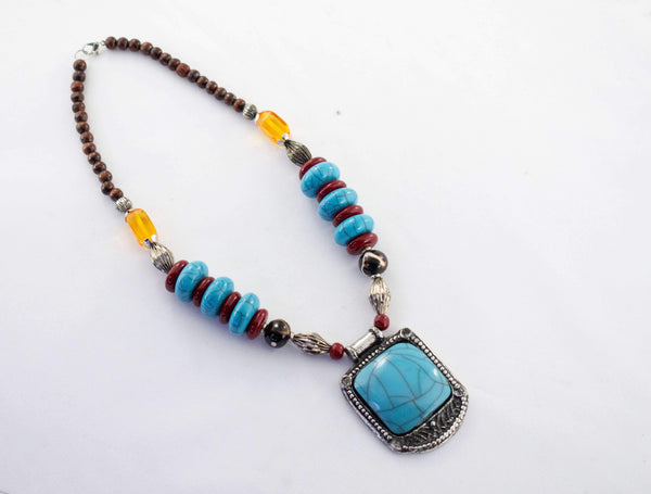 Tribal Turquoise Beaded Necklace Set - AFRIKAN ATTIRE - #african_clothing -