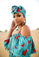 Turquoise Blue Long Dress - AFRIKAN ATTIRE -