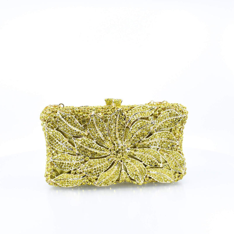 Yellow Crystal Floral Clutch Purse - AFRIKAN ATTIRE - #african_clothing -