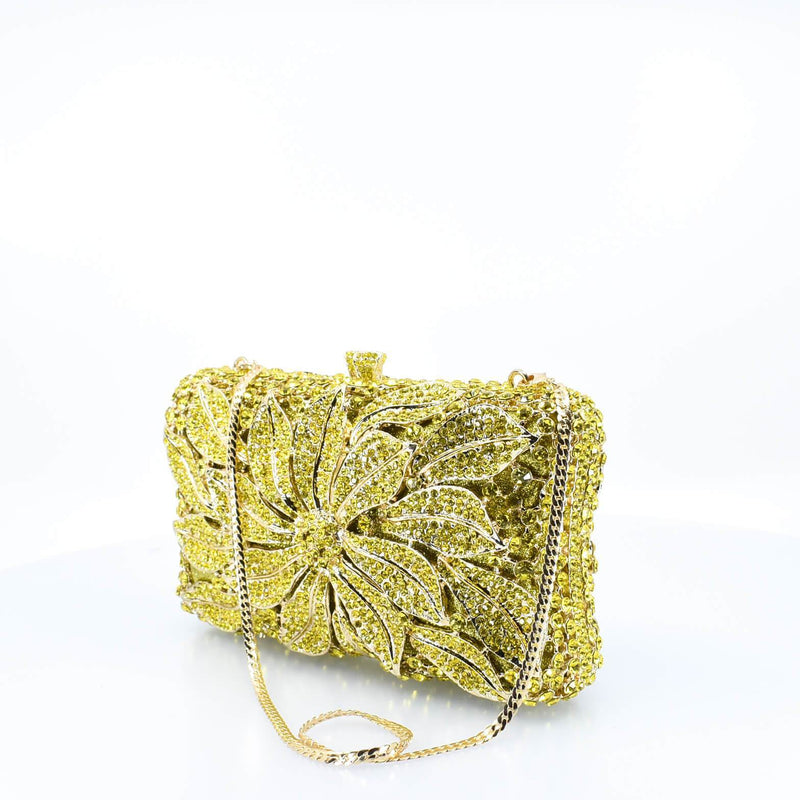 Yellow Crystal Floral Clutch Purse - AFRIKAN ATTIRE -