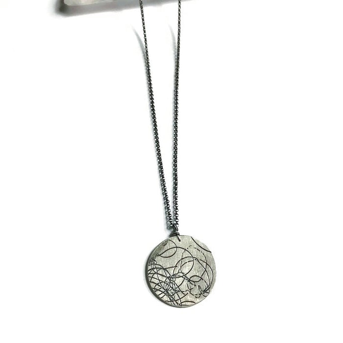 Large Silver Startrail Coin Necklace