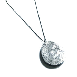 Large Cement + Silver pendnt