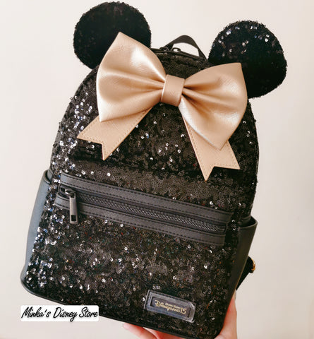 Hong Kong Disneyland - 15th Anniversary Disney Park Black Sequined Backpack (Not Loungefly) - Preorder