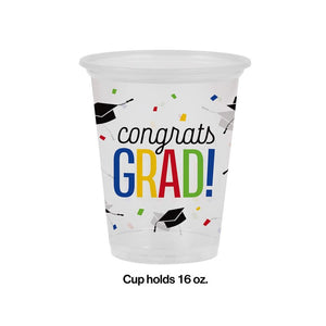 "Graduation ""Congrats Grad"" Plastic Disposable Cups – 8 Count"