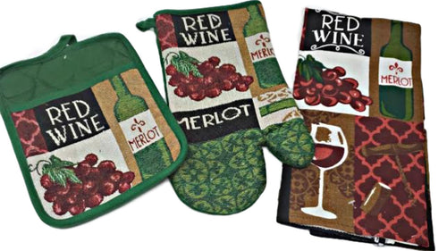 Wine Kitchen 3 Piece Set with Potholder, Oven Mit and Kitchen Towel
