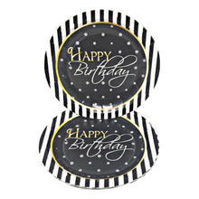 "Load image into Gallery viewer, Elegant Happy Birthday 7"" Dessert Paper Plates – 8 CT"