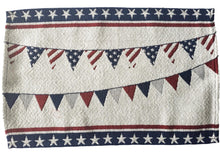 Load image into Gallery viewer, Patriotic Americana Tapestry Red, White and Blue Banner Placemats – Set of 4