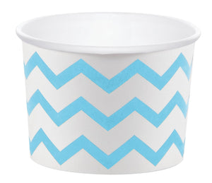 12 White Paper Disposable Treat, Snack Serving Cups with Light Blue Pattern