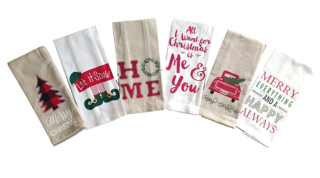Christmas Cheer Saying Kitchen Tea Towels – Set of 6