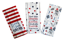 Load image into Gallery viewer, Patriotic Americana Stars and Stripes Forever Printed Kitchen Towels – Set of 3