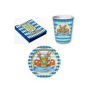 Oktoberfest Paper Tableware Combo: Cups, Napkins and Plates