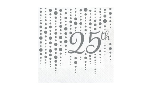 Silver 25th Anniversary Luncheon Napkins – 16 Count