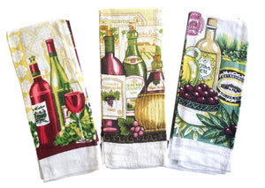Wine Printed Terry Kitchen Towels – Set of 3