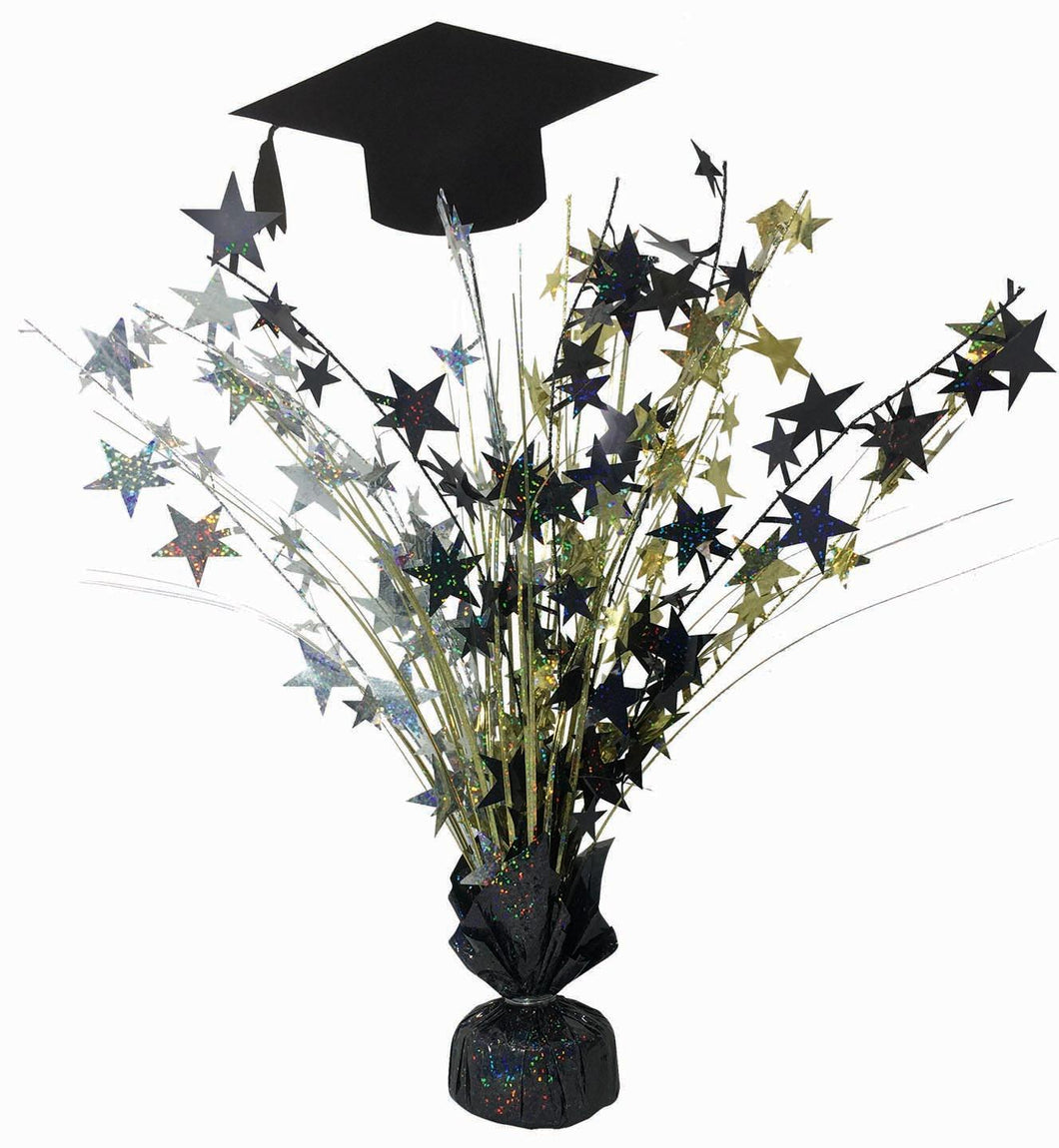 "Graduation Hat 18"" Spray Centerpiece Balloon Weight Black/Silver/Gold"