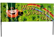 "Load image into Gallery viewer, St Patrick's Day Yard Stick, Banner Decoration ""Happy St Patrick's Day"""