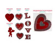 Load image into Gallery viewer, Valentine's Day Hanging Cutout Metallic Paper Decorations 5 Assorted Styles