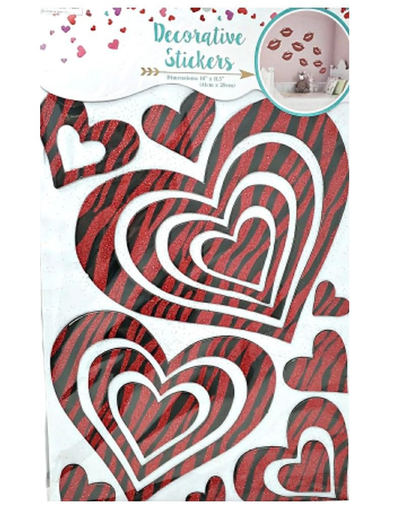 Valentine's Day Wall Stickers Red Hearts