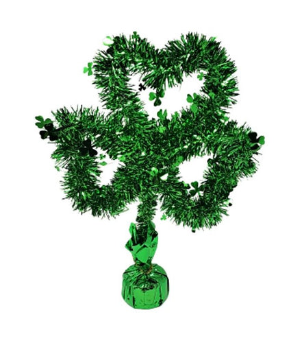 St Patrick's Day 15-inch Tinsel Shamrock Centerpiece, Balloon Weight