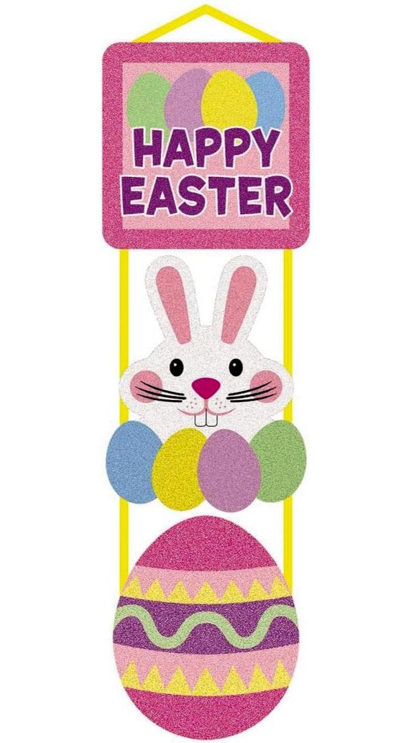 """Happy Easter"" Glitter Plaque Easter Decoration"