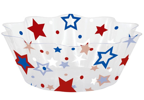 Patriotic Red, White and Blue Stars Fluted Serving Bowl – 1 Piece