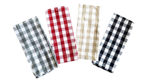 Buffalo Plaid Woven Kitchen Towel Assorted Colors – Set of 4