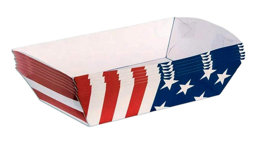 Patriotic American Flag Paper Food Trays – 6 Count